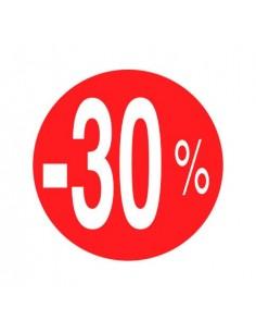 etiquetas-adhesivas--30%-rojo/blanco-rollo-500uds