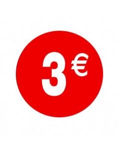 Pegatinas 3 Euros Rojo y Blanco - 500 unidades
