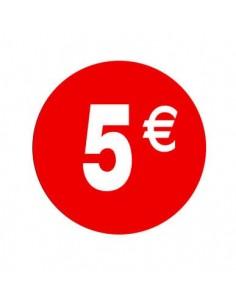 Pegatinas 5€ Rojo/Blanco 3,5 cm. - 500 unidades