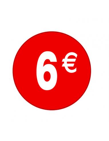 Pegatinas 6€ Rojo/Blanco 3,5 cm. - 500 unidades