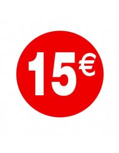 Pegatinas 15€ Rojo/Blanco 3,5 cm. -  500 unidades