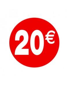 Pegatinas 20€ Rojo/Blanco 3,5 cm. -  500 unidades
