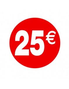 Pegatinas 25€ Rojo/Blanco 3,5 cm. -  500 unidades