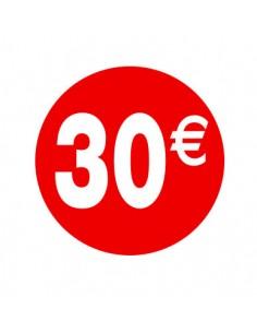 etiquetas-adhesivas-pegatinas-30€-rojo-blanco-redonda-medida-3,5-cm.-rollo 500uds